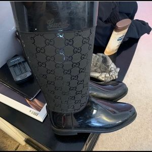 Black Gucci Rainboots